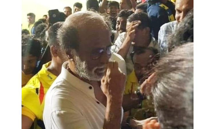 Superstar Rajinikanth arrives during Dhoni's Chennai Super Kings match at Chepauk