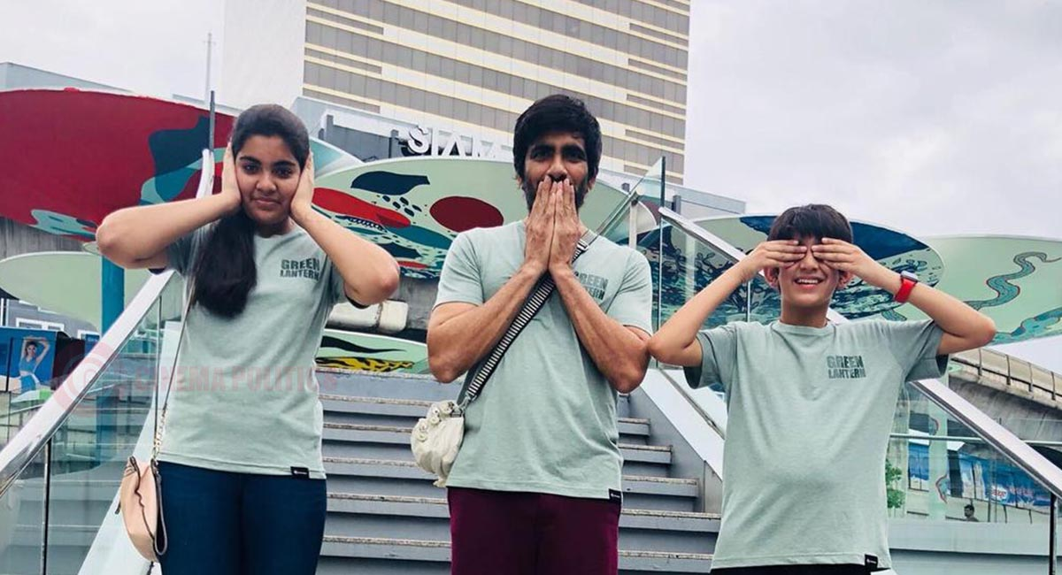 raviteja with his daughter and son